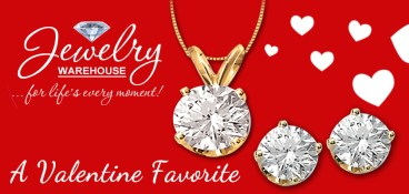 A Valentine Favorite! Diamond solitaire pendants and earrings - - Available in stores or online. http://www.jewelrywarehouse.com