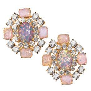 Alan Anderson Button Earrings Pink Opal
