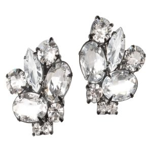 Alan Anderson Button Earrings Crystal