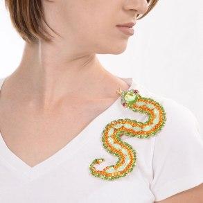 Alan Anderson Snake Brooch Green Opal