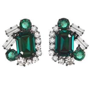 Jewels by Alan Anderson Holiday Emerald Button Earrings