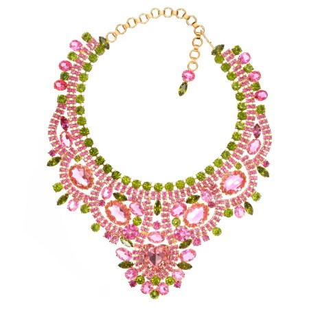 Alan Anderson Rose and Olivine Bib Necklace