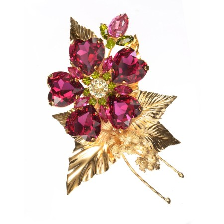 Alan Anderson Fuschia Wild Rose Floral Brooch in 14K Gold Plate