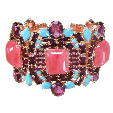 Alan Anderson Pink Jade, Amethyst and Turquoise Clamper Bracelet in 14K Rose Gold