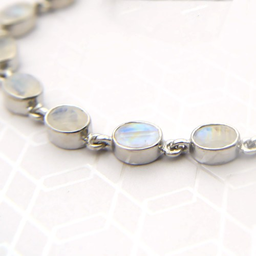 Oval Rainbow Moonstone Gemstone Bracelet