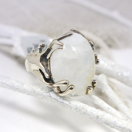Moonstone Ring w/ Branch-Like Setting in Sterling Silver
