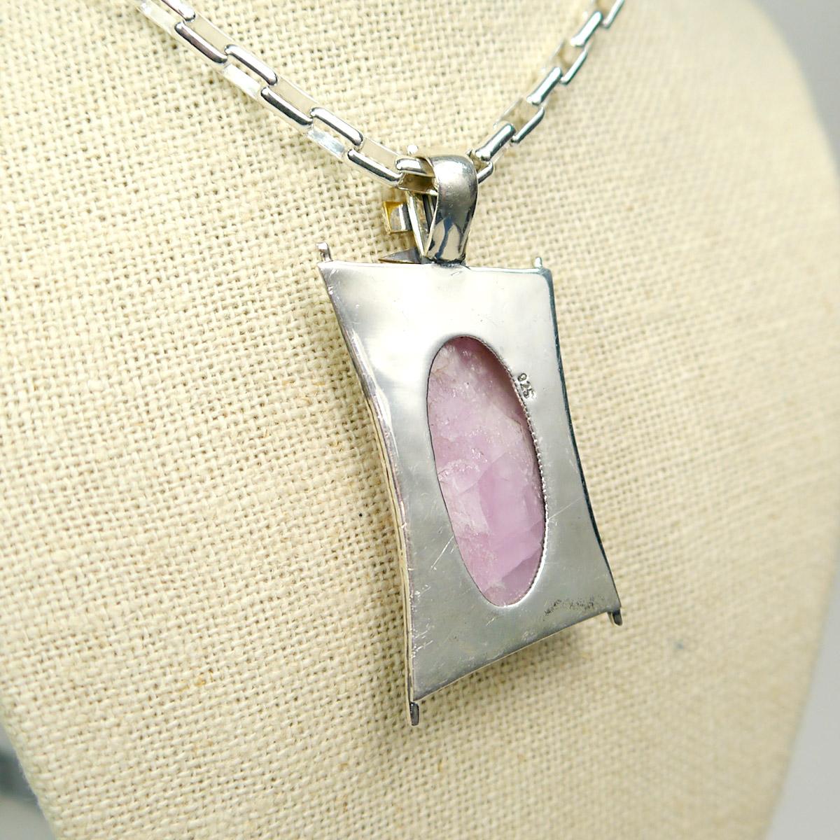 Oval Kunzite Pendant in Sterling Silver
