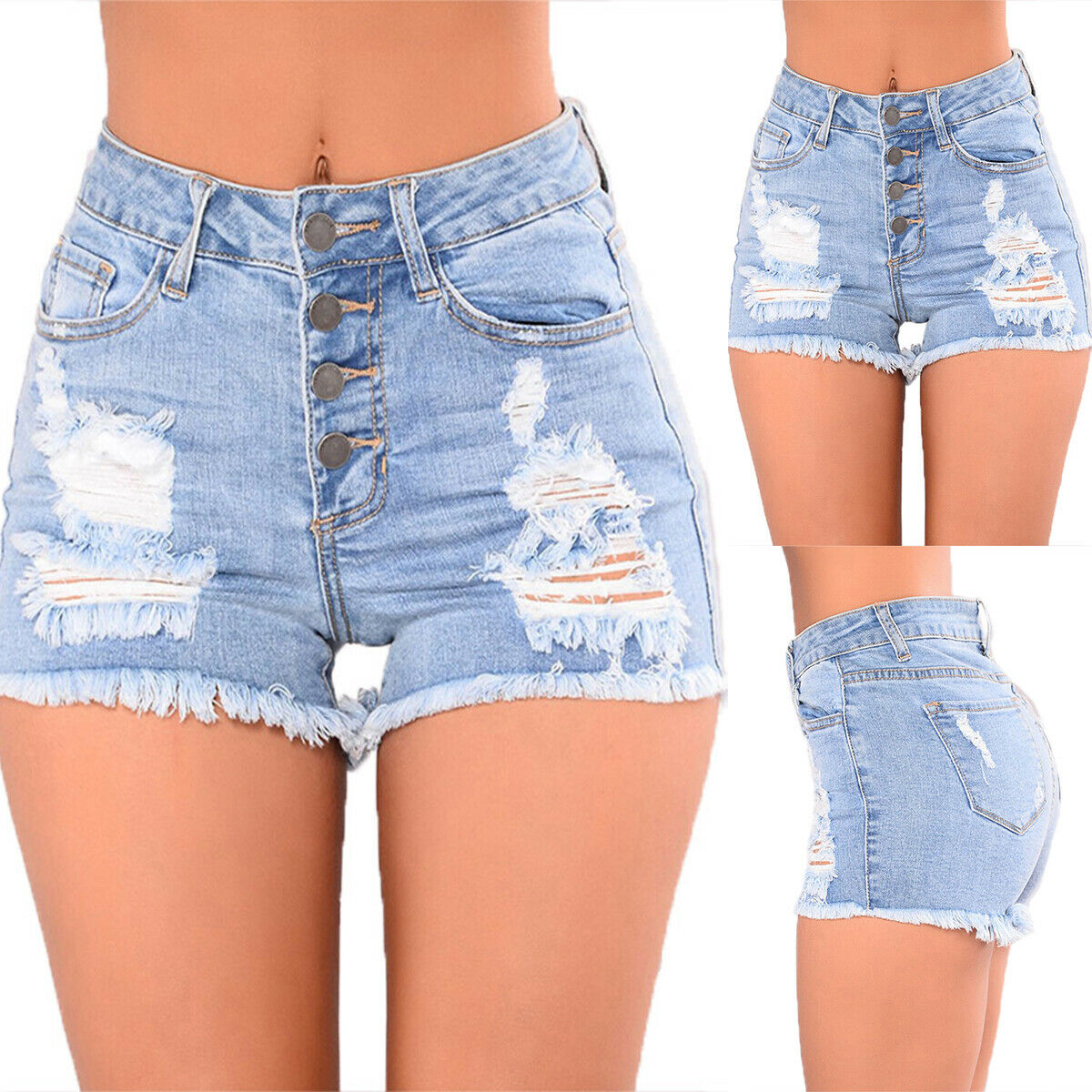 Womens High Waisted Denim Jeans Shorts Summer Casual Skinny Hot Short Pants Size