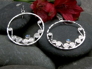 Rainbow Moonstone Large Silver Scroll Gypsy Hoops