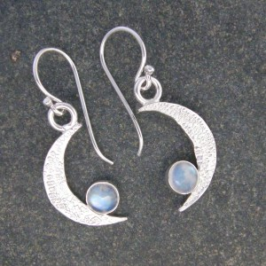 Rainbow Moonstone Crescent Moon Drop Earrings