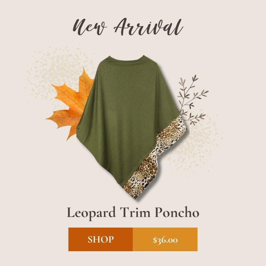 Leopard Trim Poncho - Apparel
