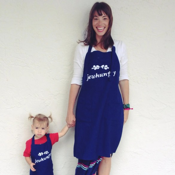 My favorite picture of all time -- in our custom-made Jewhungry aprons.