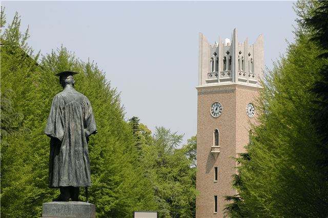 The famous statue of Waseda University founder, Ookuma Shigenobu. Photo Credit: Jewishbusinessnews