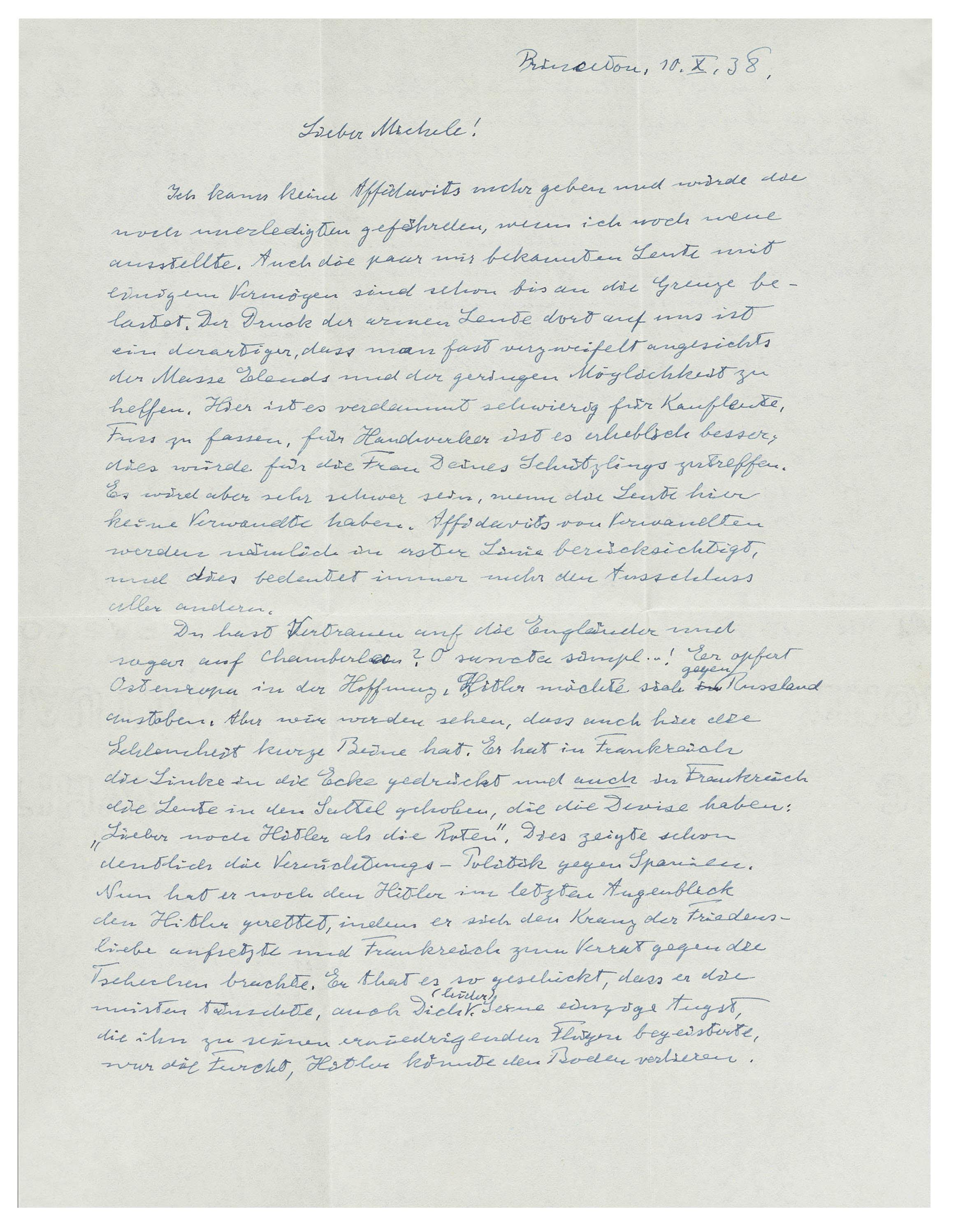 Einstein's Letter Criticizing PM Chamberlain's Attitude