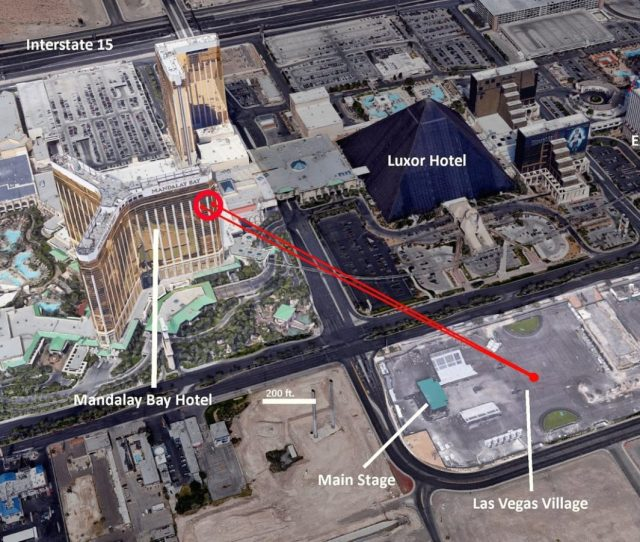 A Diagram Illustrating The Position And View The Perpetrator Of The Las Vegas Shooting Had On The Country Music Festival Credit Wikimedia Commons