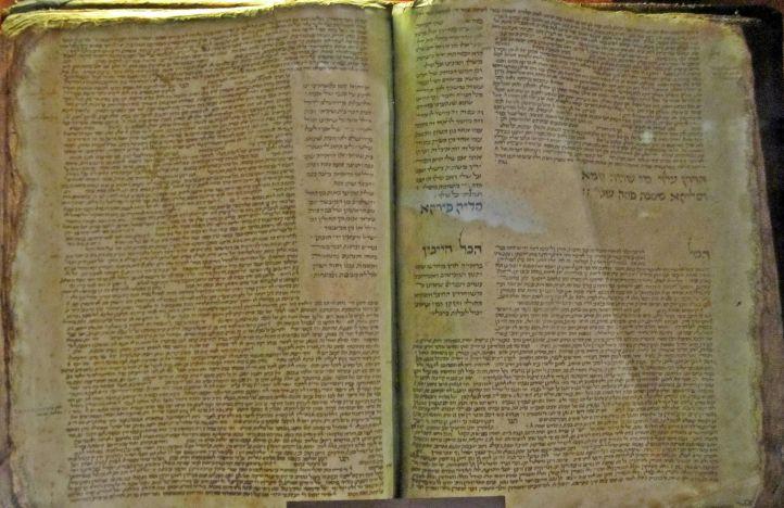 Photo of the Babylonian Talmud, copied by Solomon ben Samson, France, 1342 (Diaspora Museum, Tel Aviv)