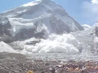An avalanche heading to one of the base camps on Mount Everest