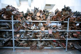 Remains of the rockets which landed in Sderot