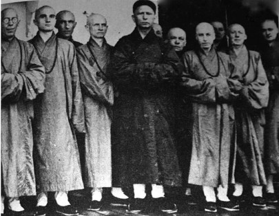 Abbot Chau Kung and his monastic disciples. From 1931 he would be constantly accompanied by this group wherever he went