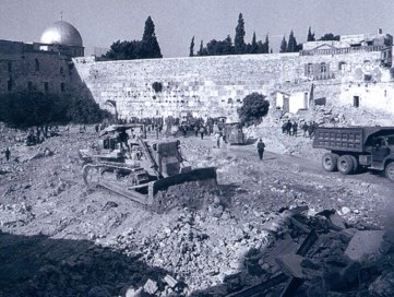 Clearing what's now the plaza at the Western Wall