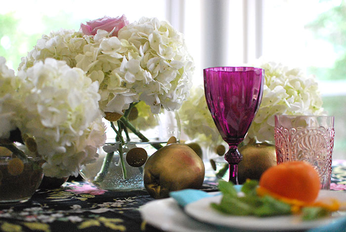 Flowers on table for Shavuot