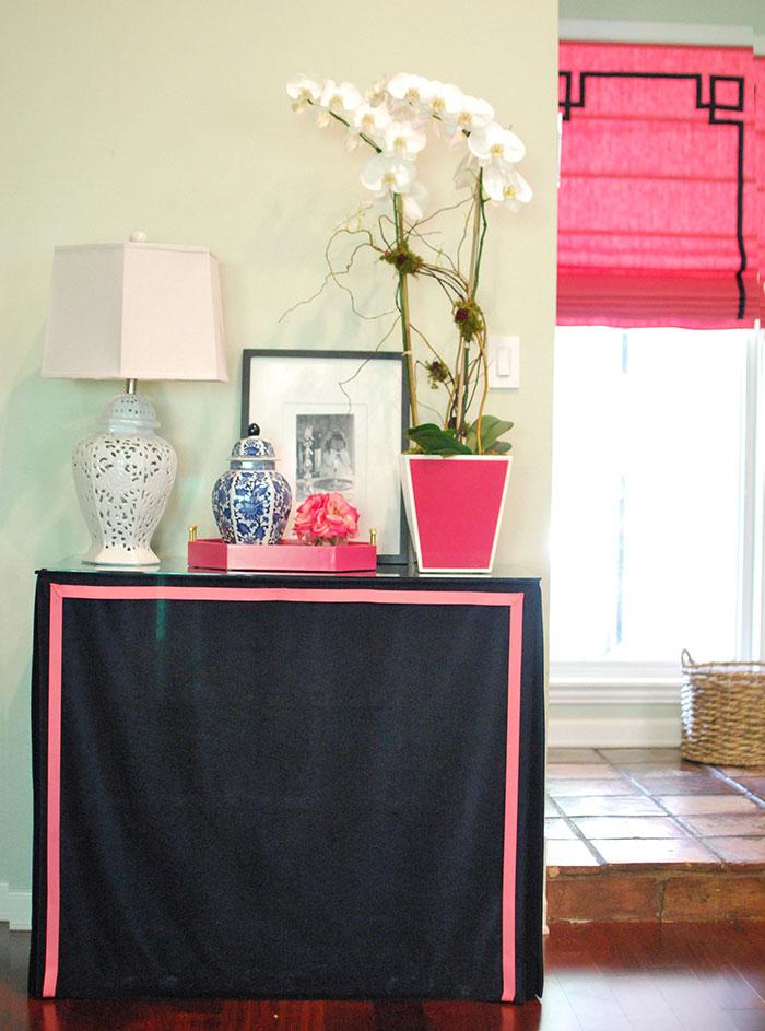 skirted table with trim DIY by Jewish Latin Princess
