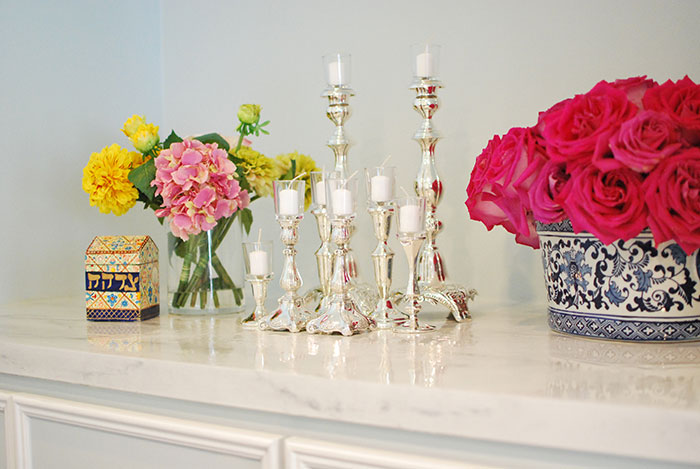 Faux Marble Countertop with Chandeliers By Jewish Latin Princess