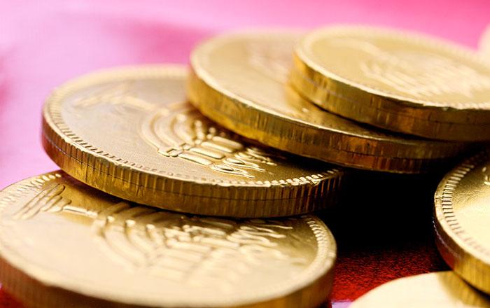 Chanukah Gelt or Gold Chocolate Coins
