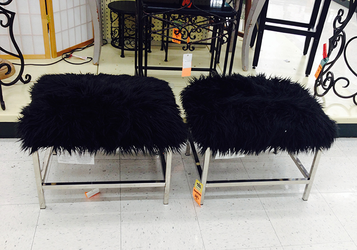 black furry benches found at hobby lobby