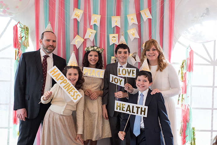 Mint, coral and gold Bat Mitzvah