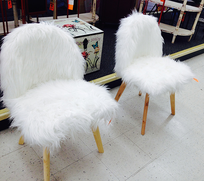 White furry chairs found at hobby lobby