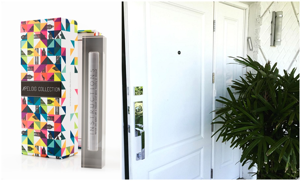 Apeloig Collection's Large Grey Mezuzah case, displayed on Daniela's Home's Front Door with holy scroll inside, of course!
