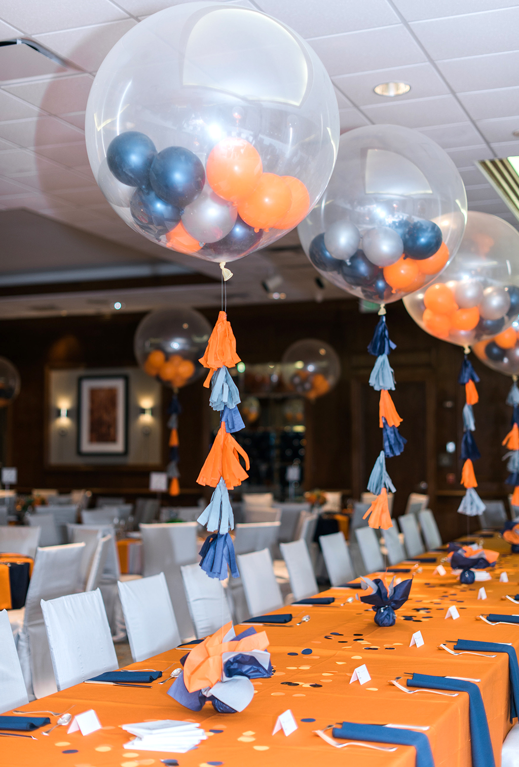 Bar Mitzvah Boys Table with navy, orange and gray