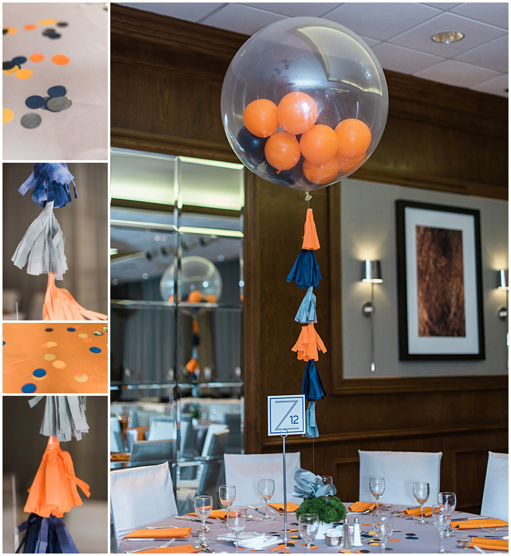 Blue, gray and orange balloons with tassels in Bar Mitzvah decor