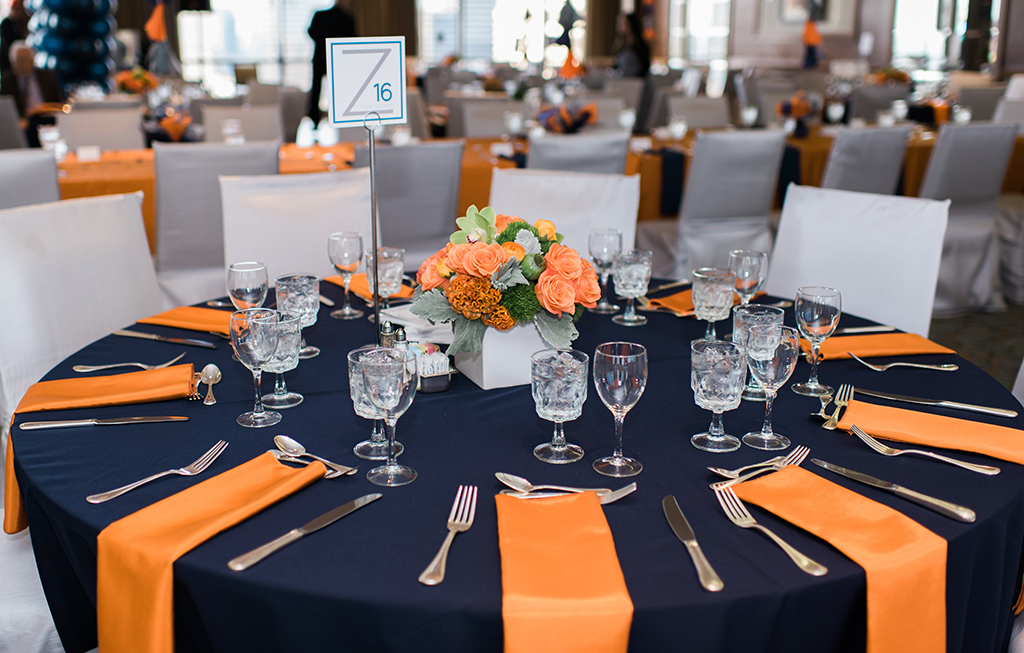 Bar Mitzvah Table with Navy, Grey, Orange