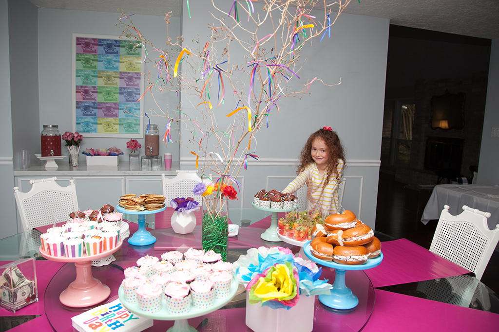 Food Table at Nine Year Old Girl Birthday Party