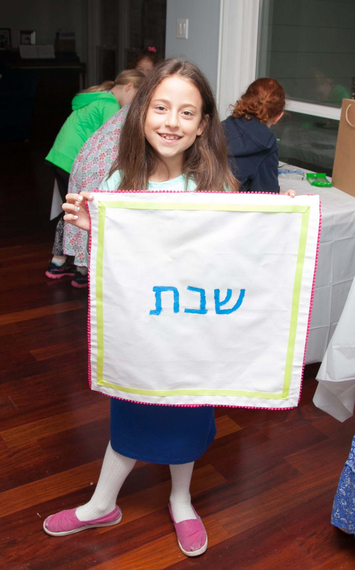 Challah cover decorated by kids at birthday party