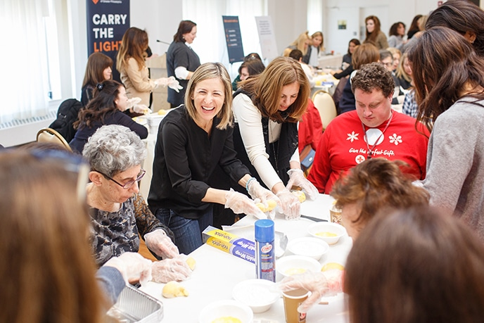 Women's Philanthropy members at a challah bake