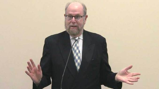 Rabbi Richard Address speaking to the South Jersey Men's Club, on January 26, 2014.