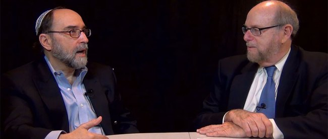 Rabbi Address, right, and Rabbi Simcha Raphael, during taping of their discussion for Rabbi Address' new TV show,