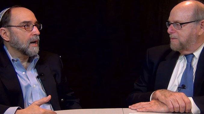 """Rabbi Address, right, and Rabbi Simcha Raphael, during taping of their discussion for Rabbi Address' new TV show, """"Conversations,"""" which debuts on this website tomorrow night at 6pm."""