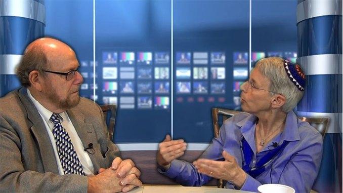 Rabbi Sue Elwell, right, explains the role of the spiritual director to Rabbi Richard Address, host of JSA-TV's Conversations program.
