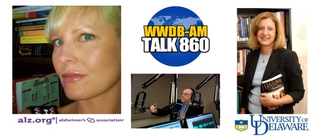 Guests on the October 14, 2014 Boomer Generation Radio are Krista McKay of the Delaware Valley chapter of the Alzheimer's Association (left) and Dr. Bahira Sherif-Trask of the University of Delaware.