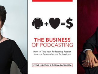 Steve Lubetkin,right, and Donna Papacosta, with cover of their new book on podcasting.
