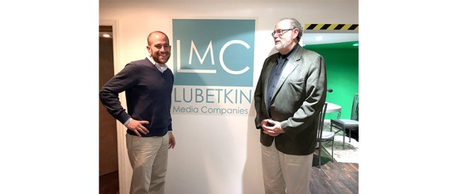 Rabbi Ben David, left, senior rabbi at Congregation Adath Emanu-El, Mt. Laurel, NJ, chats with Rabbi Richard Address, host of the Jewish Sacred Aging Podcast, before recording in the Lubetkin Media Companies studio in Cherry Hill, NJ