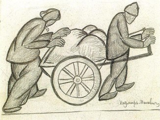 "Malevich, ""Two Pushcarts, 1911,"" public domain image via Flickr.com"