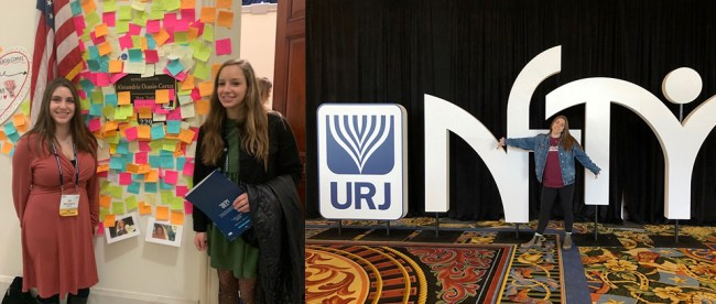 Sandy Taradash's granddaughters Ari, left, and Shayna, visiting the congressional office of Rep. Alexandria Ocasio-Cortez, and Ari attending the NFTY youth convention in Dallas, TX