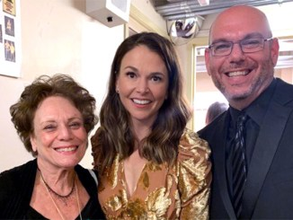 """New Year's Eve, The Geary Theater, San Francisco: Sandy Taradash with Broadway and TV star Sutton Foster (""""Younger!"""") and Sandy's son, Randy, producer of the show."""
