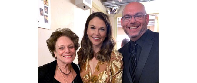 "New Year's Eve, The Geary Theater, San Francisco: Sandy Taradash with Broadway and TV star Sutton Foster (""Younger!"") and Sandy's son, Randy, producer of the show."