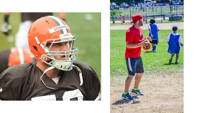 Kansas City Chiefs lineman Mitchell Schwartz, photographed in 2014 by Erik Drost as a member of the Cleveland Browns (left) and Julian Edelman of the New England Patriots, photographed at a 2016 CitiProCamp event by Gianina Lindsey (Both photos from Flickr.com under Creative Commons 2.0 license)
